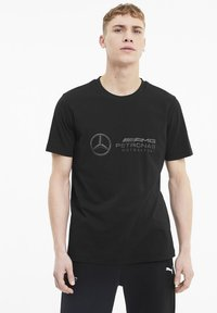 Puma - LOGO TEE - Print T-shirt - black - 0