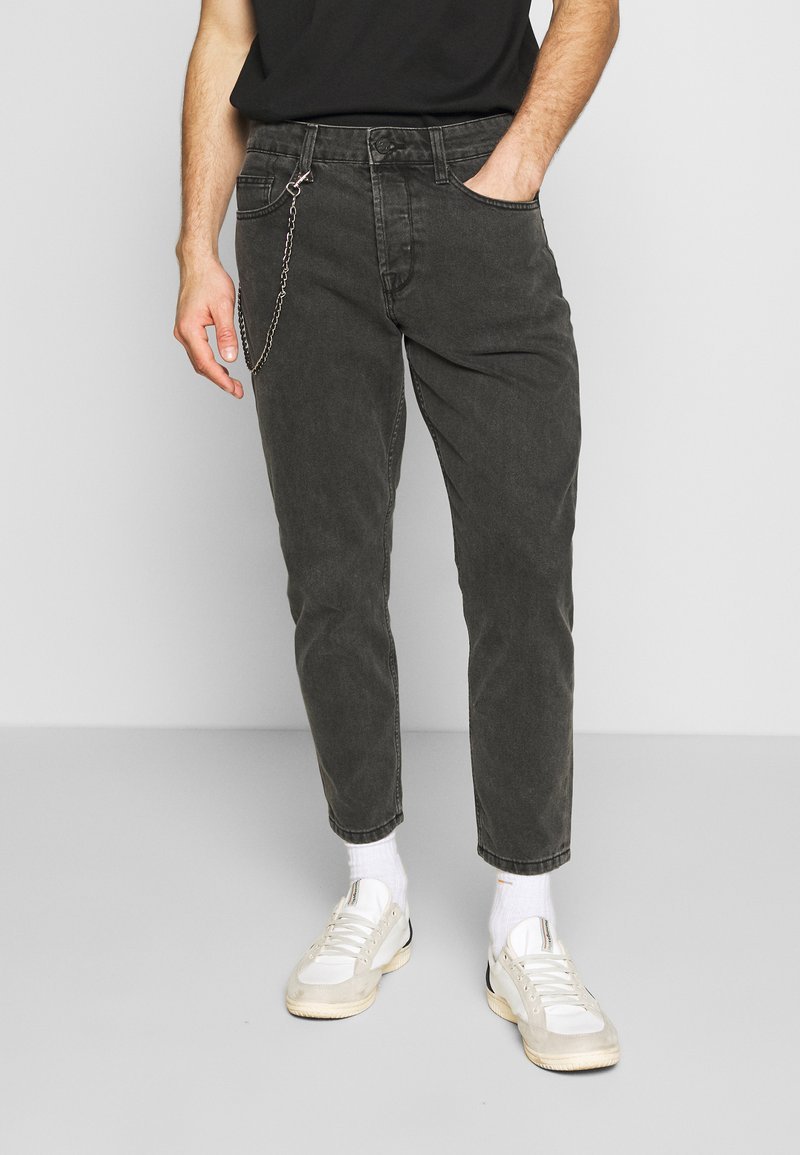 Only & Sons - ONSAVI BEAM WASH WITH CHAIN - Vaqueros tapered - black denim