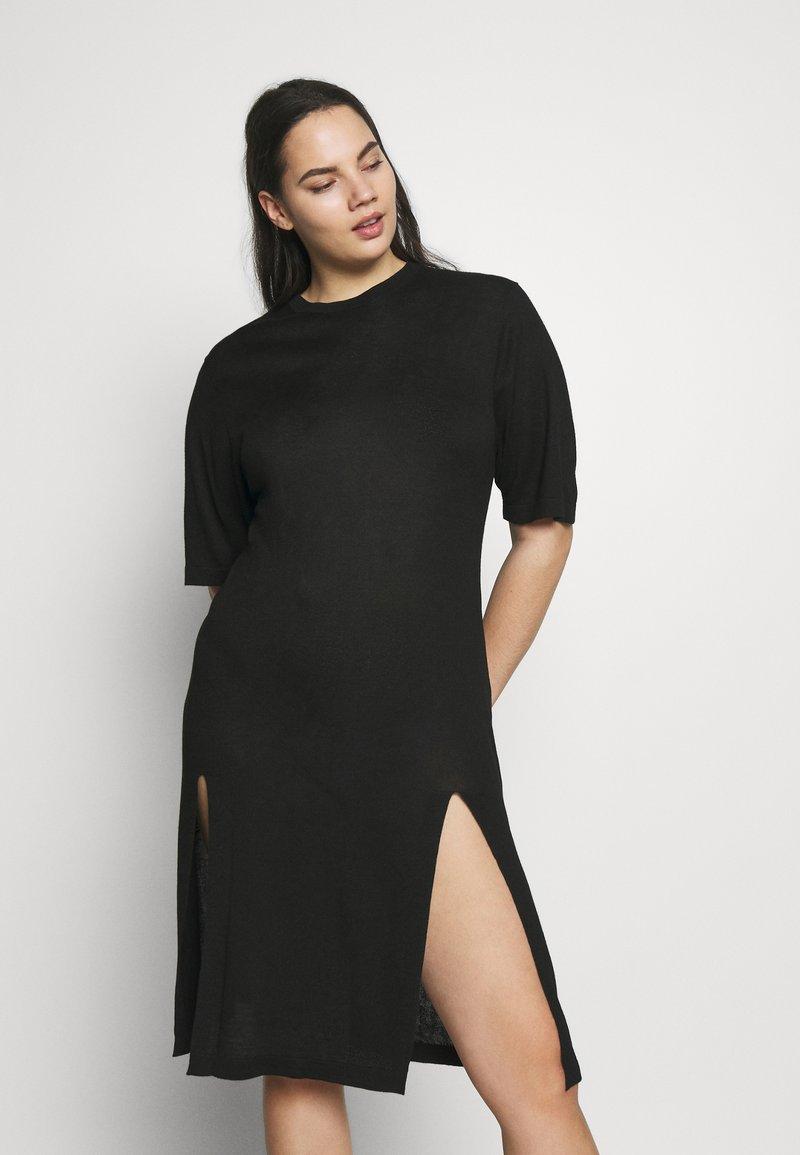Simply Be - SIDE SPLIT - Pletené šaty - black