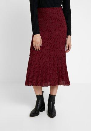 DOT HALF PLEAT MIDI - A-line skirt - wine