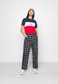 Fila - ANOKIA BLOCKED TEE - T-shirt print - true red/black iris/bright white - 1