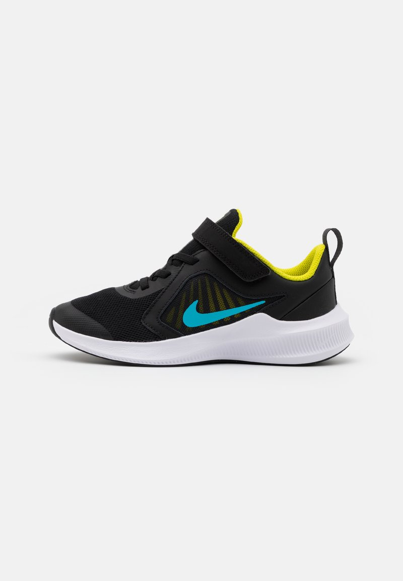 Nike Performance - DOWNSHIFTER 10 UNISEX - Neutral running shoes - black/chlorine blue/high voltage/dark smoke grey