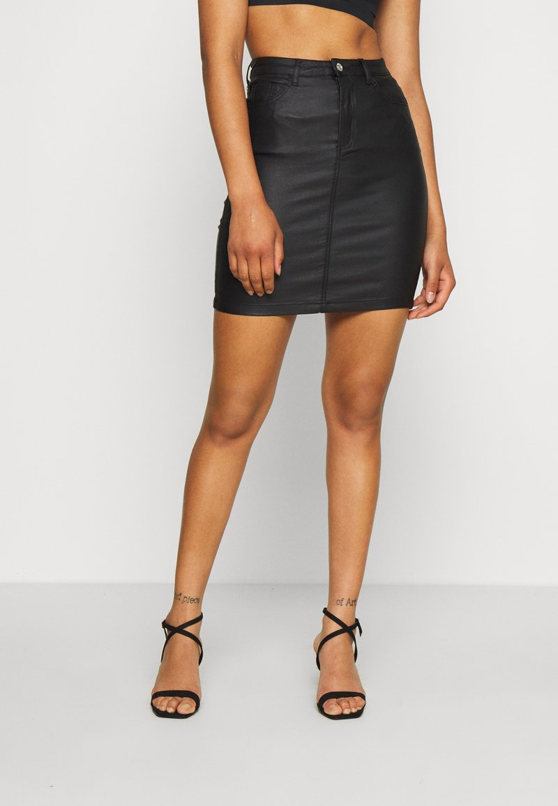 Missguided Tall - TALL COATED SUPERSTRETCH MINI SKIRT - Jupe crayon - black