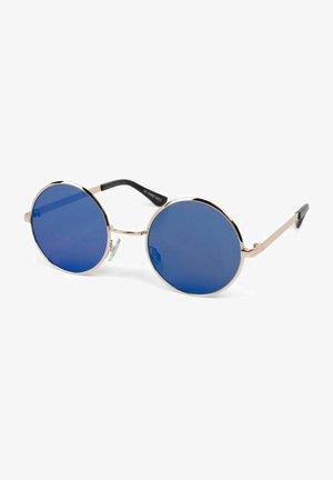 MIT RUNDEN - Sunglasses - gestell gold / glas blau verspiegelt