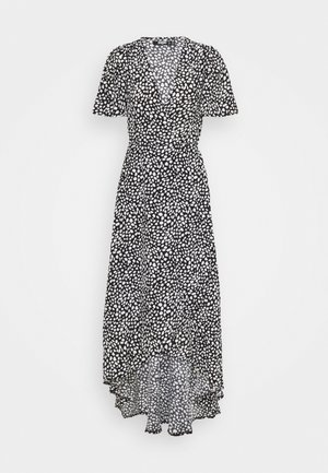 HIGH LOW MIDI DRESS DALMATIAN - Denní šaty - black