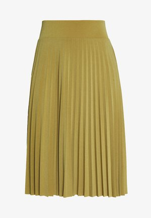 Plisse A-line mini skirt - A-line skirt - ecru olive