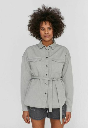 Button-down blouse - slate gray