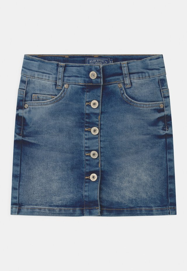 GIRLS HIGH-WAIST BUTTON  - Mini skirt - blue medium