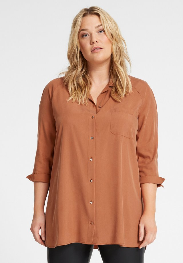 Button-down blouse - caramel brown