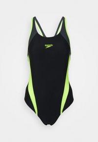 Speedo - LOGO - Swimsuit - black/fluo yellow/oxid grey - 0