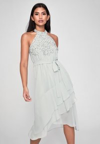 PRINTED HAND EMBELLISHED FIT FLARE DRESS - Cocktail dress / Party dress - green