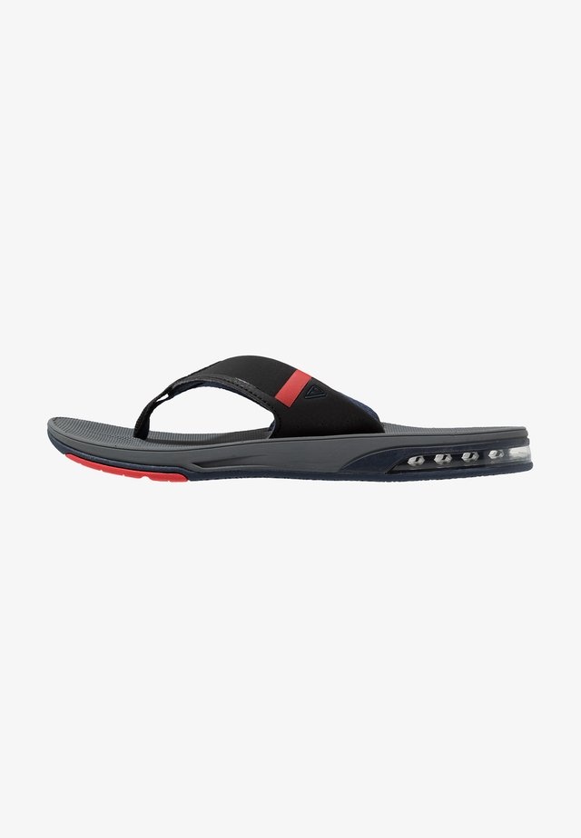 FANNING LOW - T-bar sandals - grey/black/red