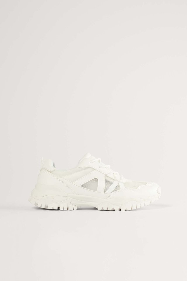 TRANSPARENT MESH TRAINERS - Sneakers laag - white
