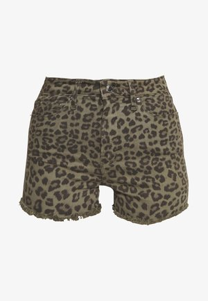 CUT OFF  - Denim shorts - sage leopard