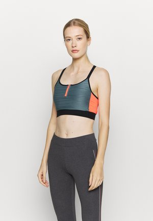 ONPALANI SPORTS BRA - Medium support sports bra - goblin blue/black/fiery coral