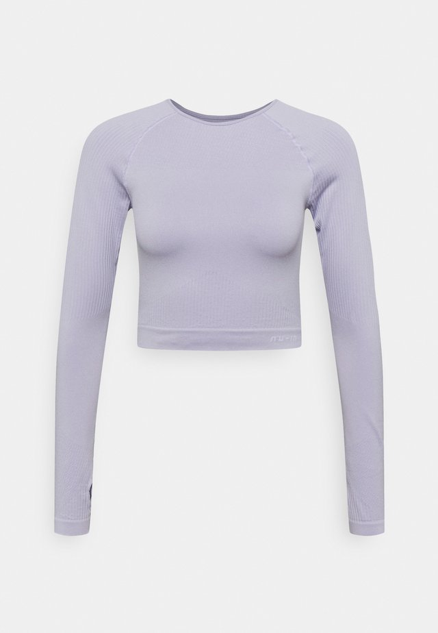 SEAMLESS TWO TONE LONG SLEEVE CROPPED - Long sleeved top - purple