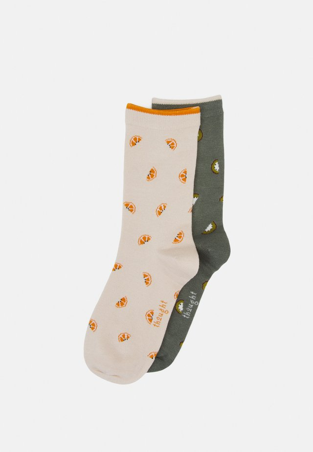 ROWENA FRUIT SOCKS 2 PACK - Socks - cream/sage green