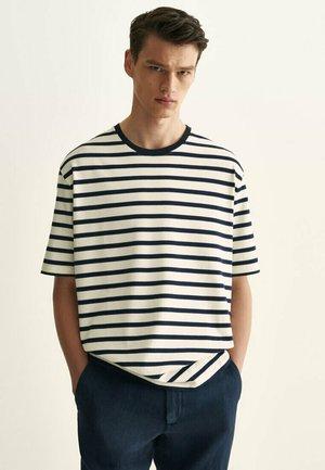 Print T-shirt - blue-black denim