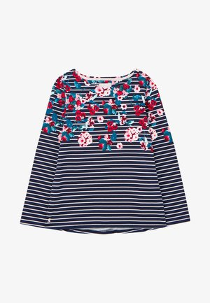 Long sleeved top - marineblau floral streifen