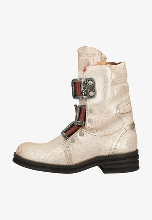 Cowboy/biker ankle boot - pearl