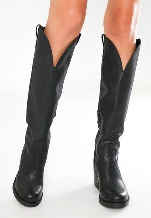 High heeled boots - black blk