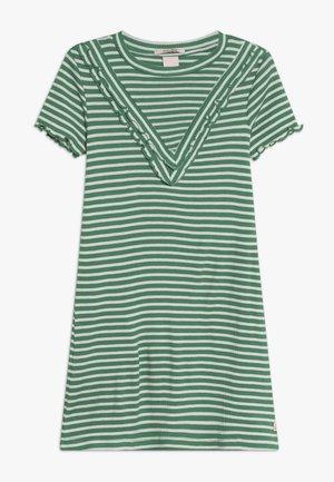 DRESS IN A LINE FIT AND RUFFLE DETAILS - Žerzejové šaty - green/white