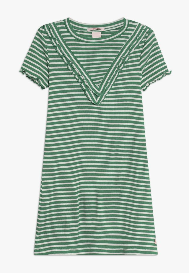 DRESS IN A LINE FIT AND RUFFLE DETAILS - Vestido ligero - green/white