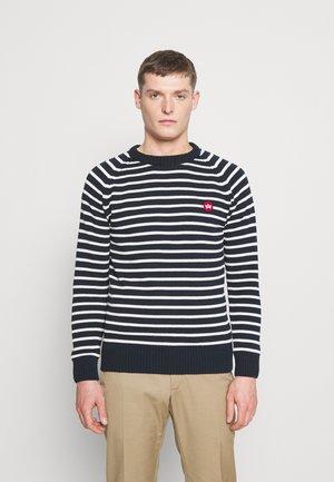 LIAM CREW STRIPE - Pullover - navy/white