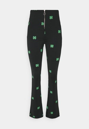 MAKE A WISH FLARED PANTS - Trousers - black/green