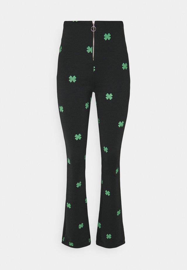 MAKE A WISH FLARED PANTS - Broek - black/green