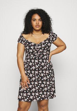 RUCHED FRONT BARDOT DRESS - Jerseyklänning - black