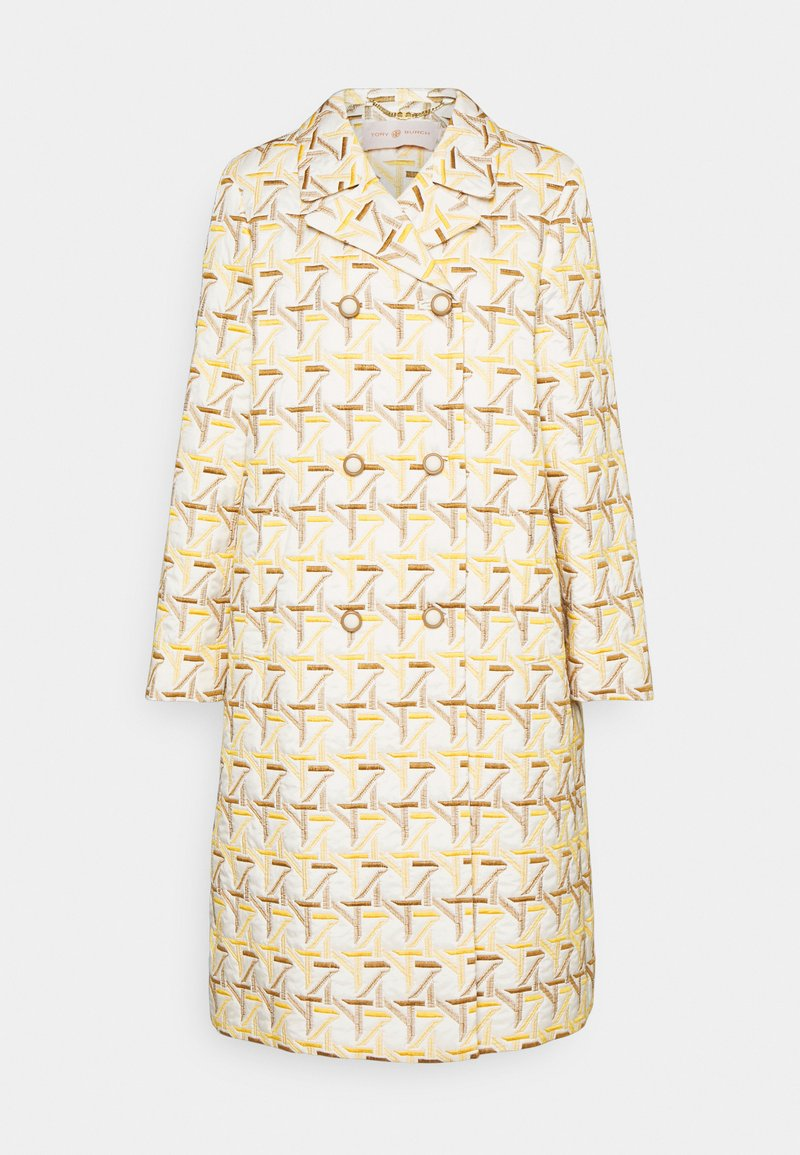 Tory Burch - EMBROIDERED PEACOAT - Classic coat - caning ivory/sunny day/classic caramel