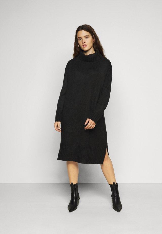 ROLL NECK DRESS - Strickkleid - black