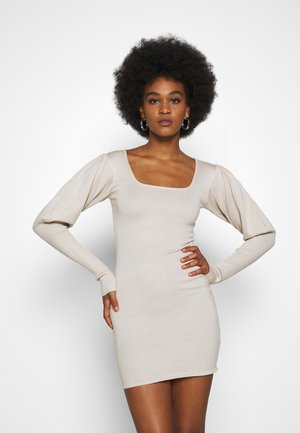 SQUARE NECK PUFF SLEEVE MINI DRESS - Jumper dress - sand