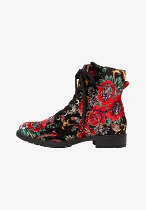 STIEFELETTE - Lace-up ankle boots - black multi