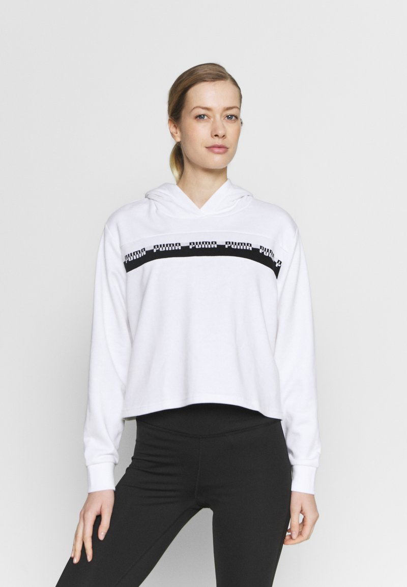 Puma - AMPLIFIED CROPPED HOODIE  - Mikina skapucí - white