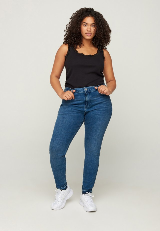 AMY WITH FRAYED EDGES - Jeans slim fit - blue