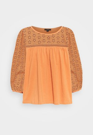 EYELET YOKE BLOUSE SLEEVE TOP - Long sleeved top - sunbaked clay