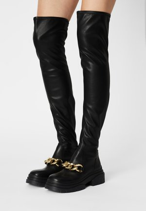 STAR CHAIN - Over-the-knee boots - black/gold
