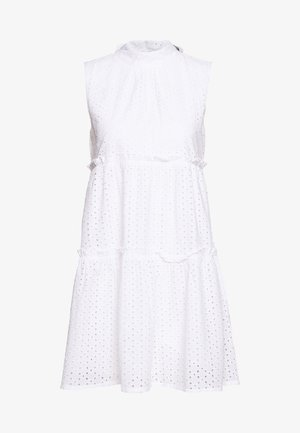 TIE NECK ANGLAISE DRESS - Kjole - white