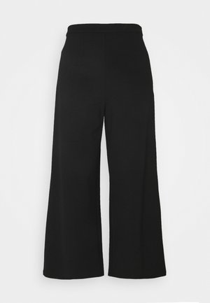 WIDE LEG CROPPED TROUSERS - Trousers - black