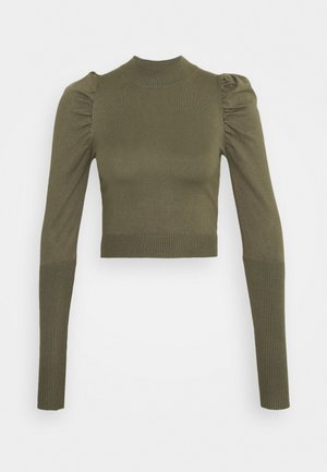 CROPPED JUMPER WIT PUFF LONG SLEEVES - Trui - forest