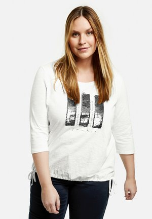 MIT PAILLETTEN  - Long sleeved top - offwhite gemustert