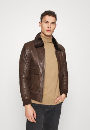 PILOT - Leather jacket - mocca