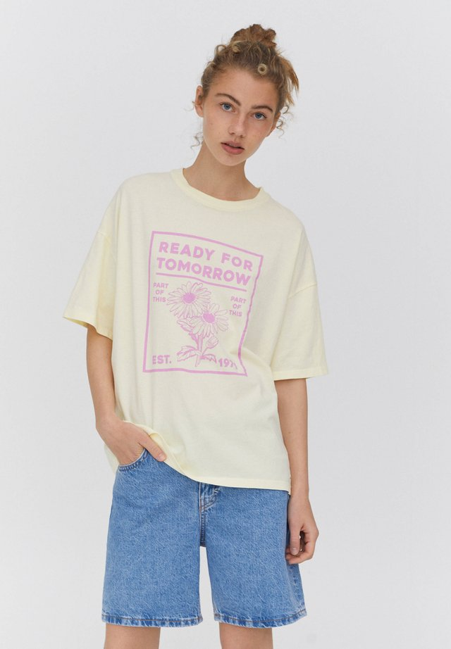 T-shirt print - mottled light yellow