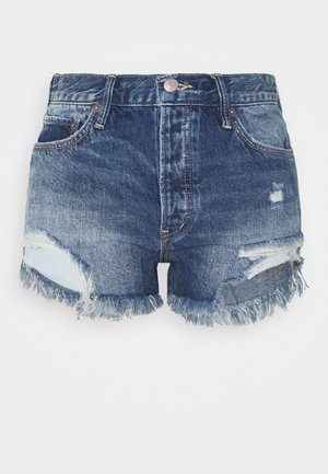 LOVING GOOD VIBRATIONS - Denim shorts - dark blue denim