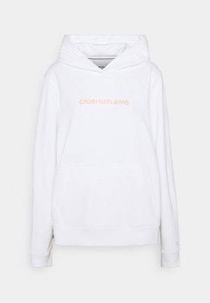 SHRUNKEN INSTITUTIONAL - Sweat à capuche - bright white/shocking orange