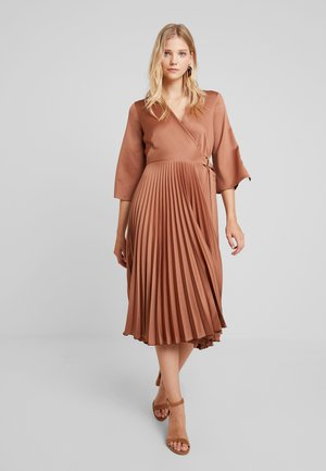 WRAP PLEATED DRESS - Day dress - brown