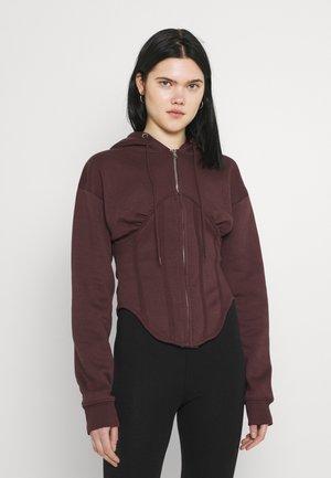 CORSET HOODY - veste en sweat zippée - burgundy
