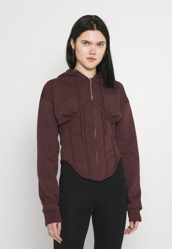 CORSET HOODY - Zip-up sweatshirt - burgundy